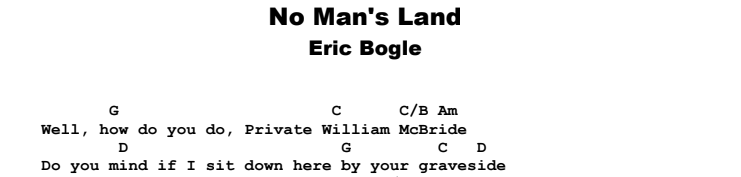 Eric Bogle - No Man's Land Chords & Songsheet
