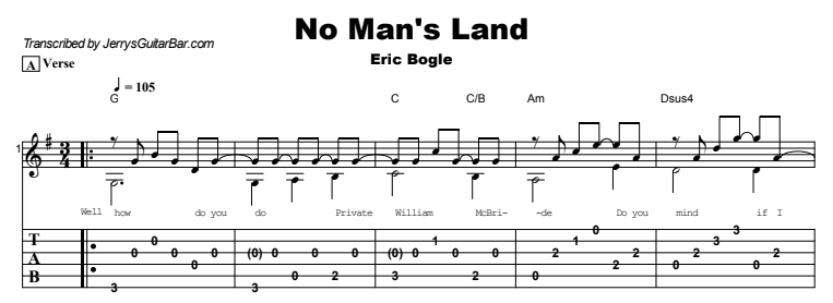 Eric Bogle - No Man's Land Tab