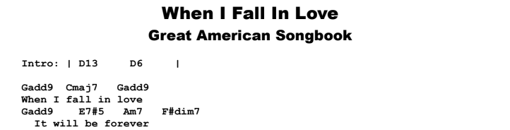 The Great American Songbook - When I Fall In Love Chords & Songsheet
