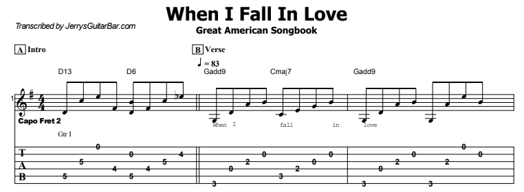 The Great American Songbook - When I Fall In Love Tab