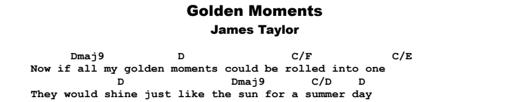 James Taylor - Golden Moments Chords & Songsheet