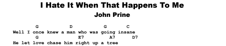 John Prine - I Hate It When That Happens To Me Chords & Songsheet