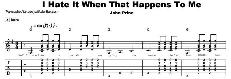 John Prine - I Hate It When That Happens To Me Tab