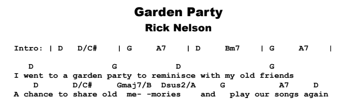 Rick Nelson - Garden Party Chords & Songsheet