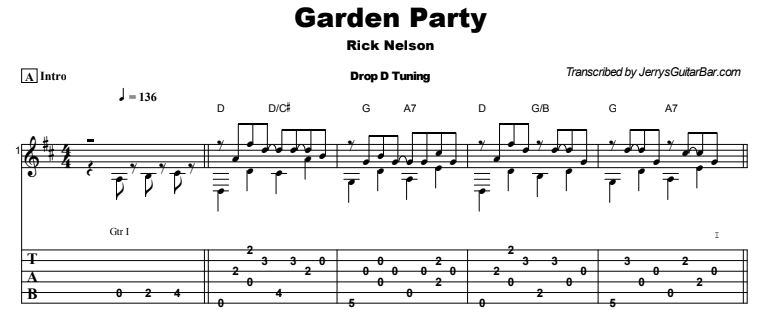 Rick Nelson - Garden Party Tab