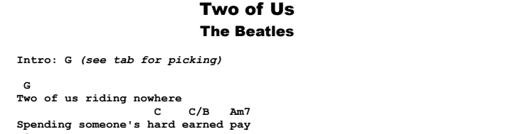 The Beatles - Two of Us Chords & Songsheet