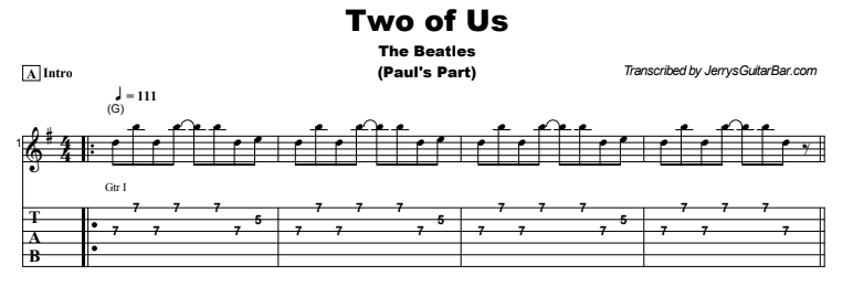 The Beatles - Two of Us Tab