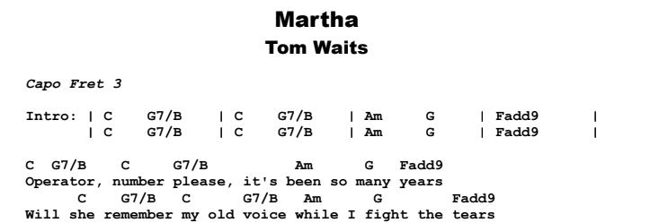 Tom Waits - Martha Chords & Songsheet