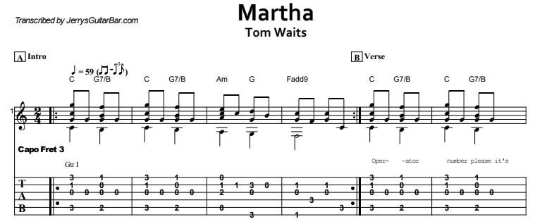 Tom Waits - Martha Tab
