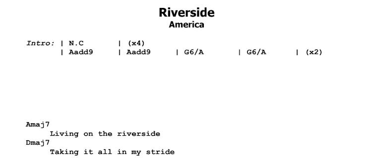 America - Riverside Chords & Songsheet