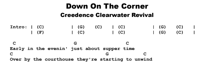 Creedence Clearwater Revival - Down On The Corner Chords & Songsheet