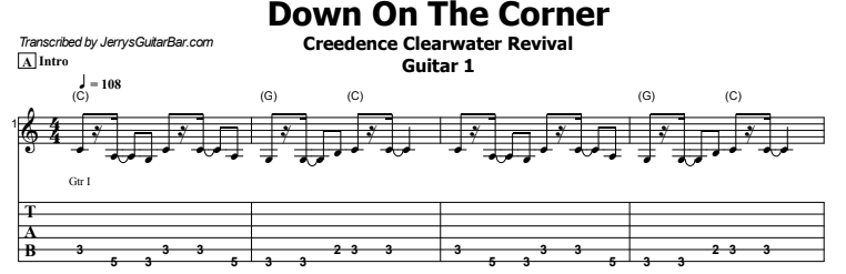 Creedence Clearwater Revival - Down On The Corner Tab