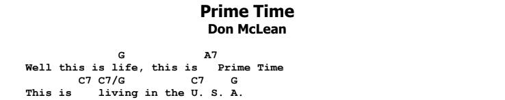 Don McLean - Prime Time Chords & Songsheet