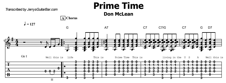 Don McLean - Prime Time Tab