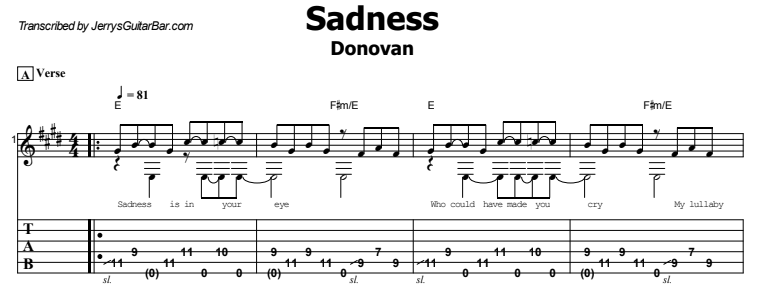 Donovan - Sadness Tab
