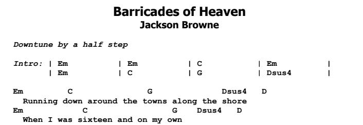 Jackson Browne - Barricades of Heaven Chords & Songsheet