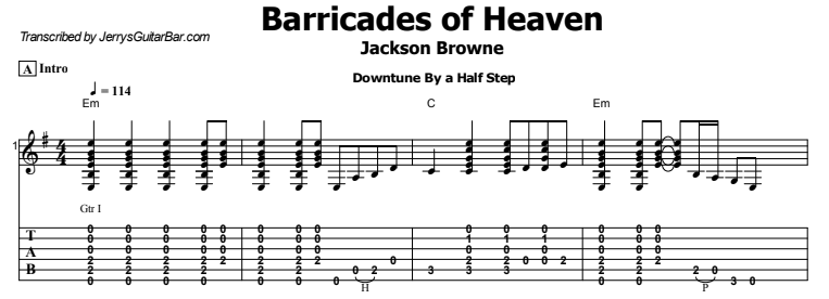 Jackson Browne - Barricades of Heaven Tab