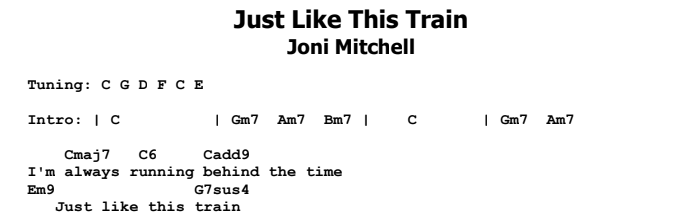 Joni Mitchell - Just Like This Train Chords & Songsheet