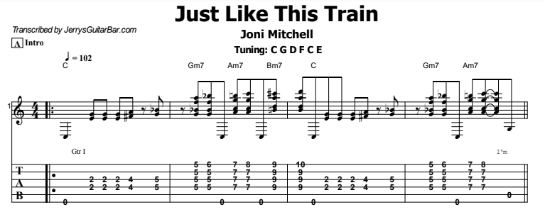 Joni Mitchell - Just Like This Train Tab