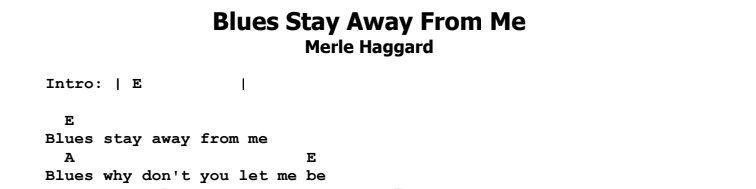 Merle Haggard - Blues Stay Away From Me Chords & Songsheet