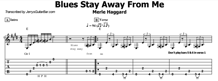 Merle Haggard - Blues Stay Away From Me Tab