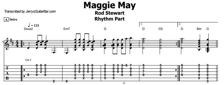 Rod Stewart - Maggie May Rhythm Tab