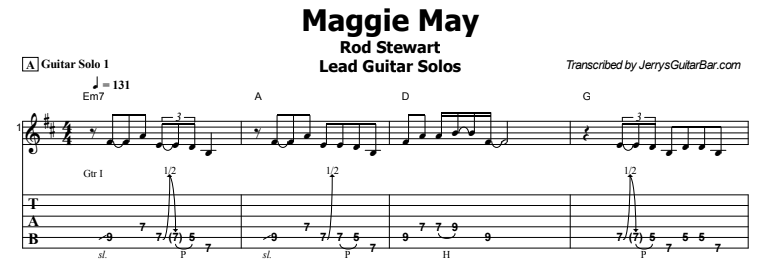 Rod Stewart - Maggie May Lead Guitar Solo Tab