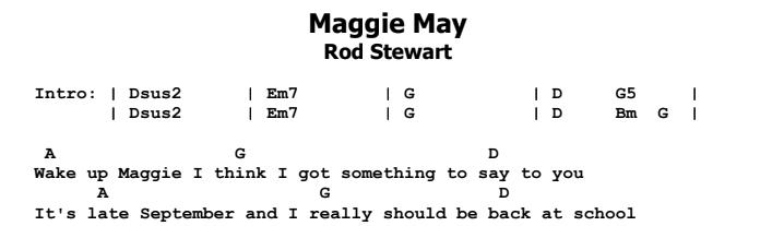 Rod Stewart - Maggie May Songsheet & Chords