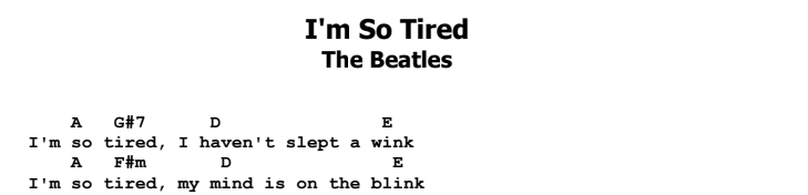 The Beatles - I'm So Tired Chords & Songsheet