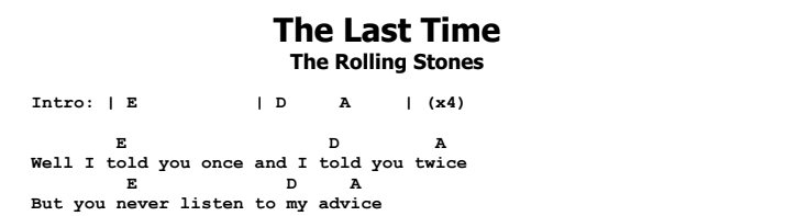 The Rolling Stones - The Last Time Chords & Songsheet