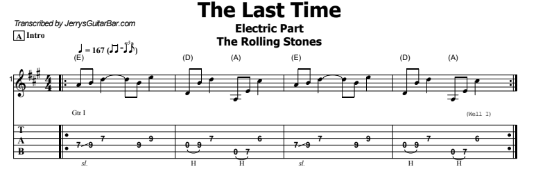 The Rolling Stones - The Last Time Tab