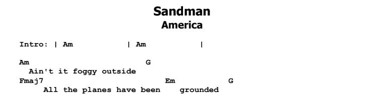 America - Sandman Chords & Songsheet