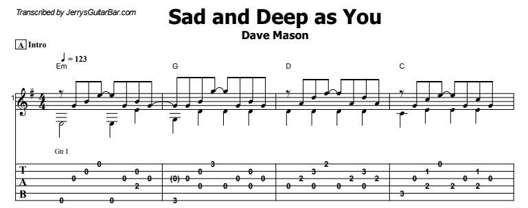 Dave Mason - Sad and Deep as You Tab