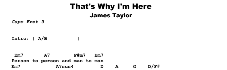 James Taylor - That's Why I'm Here Chords & Songsheet