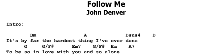 John Denver - Follow Me Chords & Songsheet