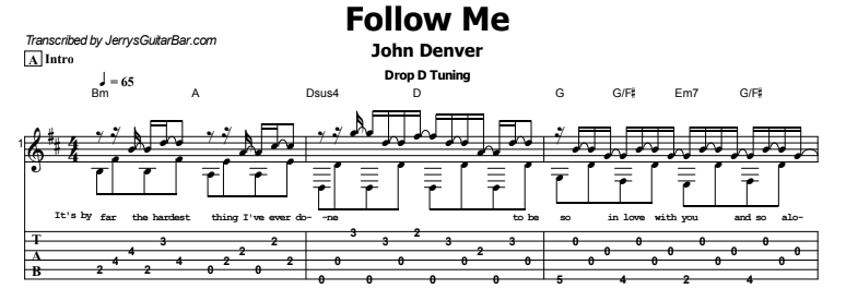 John Denver - Follow Me Tab