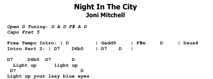 Joni Mitchell - Night In The City Chords & Songsheet