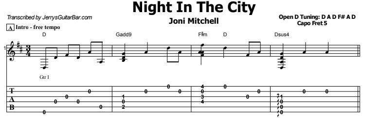 Joni Mitchell - Night In The City Tab