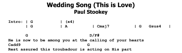 Paul Stookey - Wedding Song (There is Love) Chords & Songsheet
