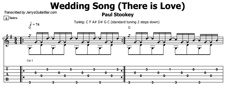 Paul Stookey - Wedding Song (There is Love) Tab