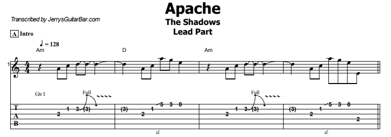 The Shadows - Apache Lead Part Tab Preview
