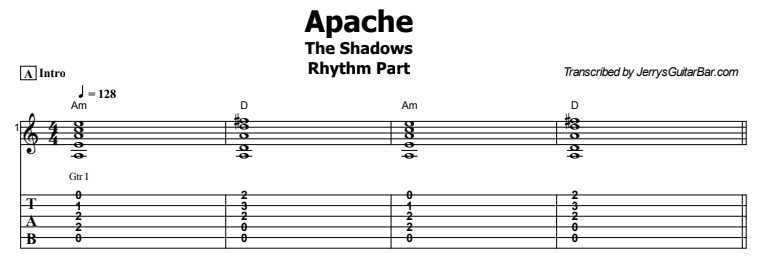 The Shadows - Apache Rhythm Part Tab Preview