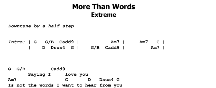 Extreme - More Than Words Guitar Lesson Chords & Songsheet