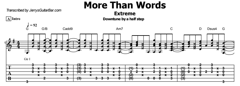 Extreme - More Than Words Guitar Lesson Tab
