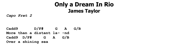 James Taylor - Only a Dream in Rio Chords & Songsheet