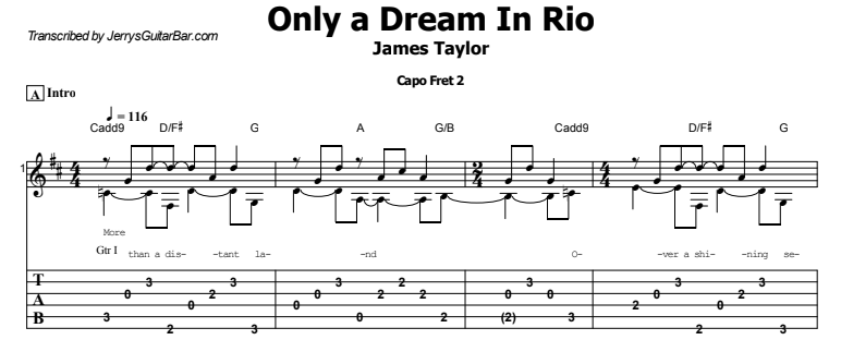 James Taylor - Only a Dream in Rio Tab