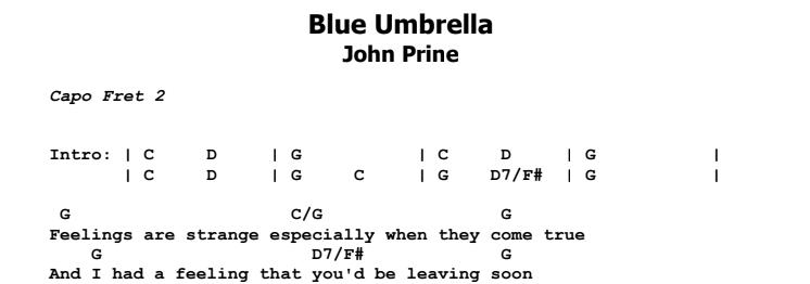 John Prine - Blue Umbrella Chords & Songsheet