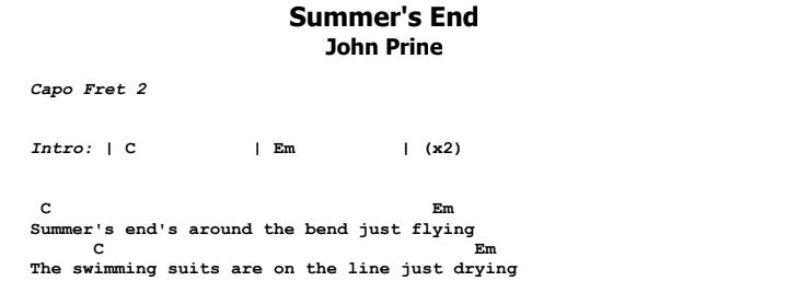 John Prine - Summer's End Chords & Songsheet