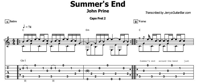 John Prine - Summer's End Tab