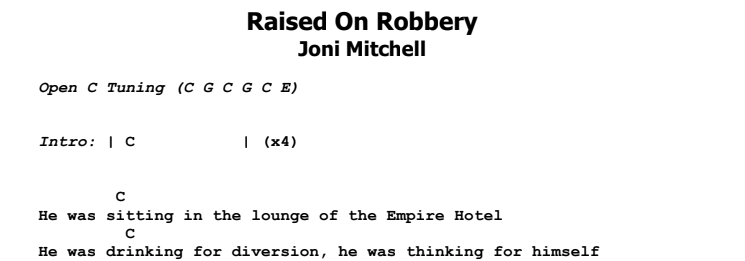 Joni Mitchell - Raised On Robbery Chords & Songsheet